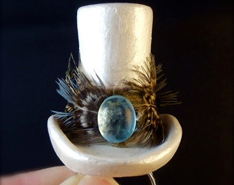 Cocktail Ring, Statement Ring, Rocker Chic, Big Fashion Rings, White Top Hat w Feather Band and Blue Cabochon, Unique Jewelry, Adjustable