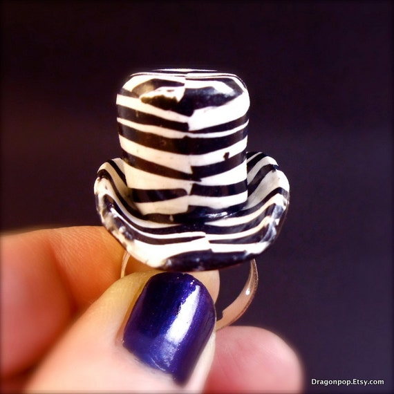 Animal Print Ring Handmade Rocker Chic Fashion Rings for Her Polymer Clay Top Hat Ring Zebra Jewelry Rock Jewelry Black White