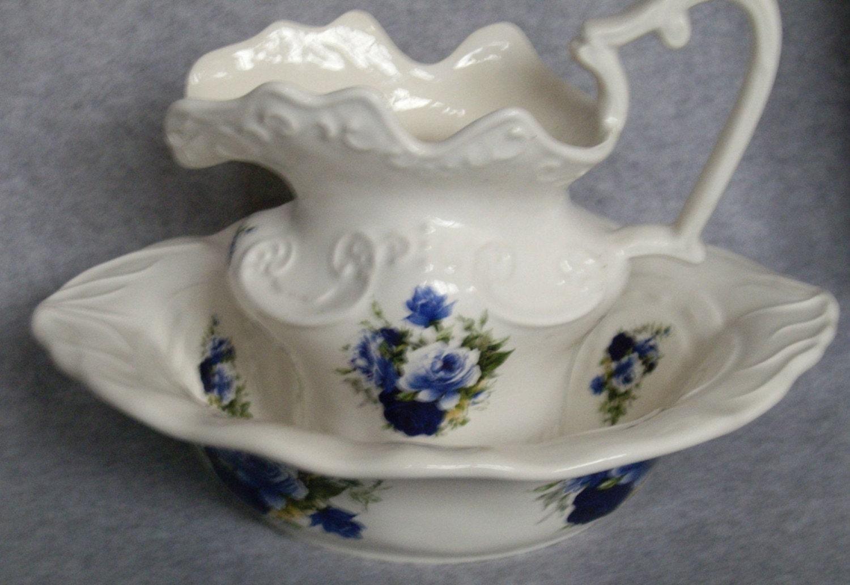 pitcher and bowl set blue roses. Black Bedroom Furniture Sets. Home Design Ideas