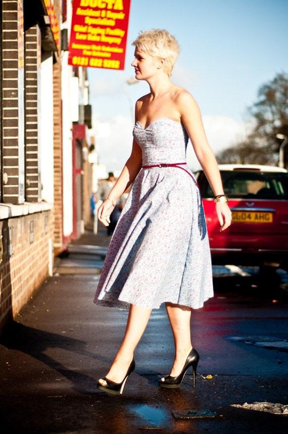 50s Vintage Inspired Blue Ditsy Print Dress