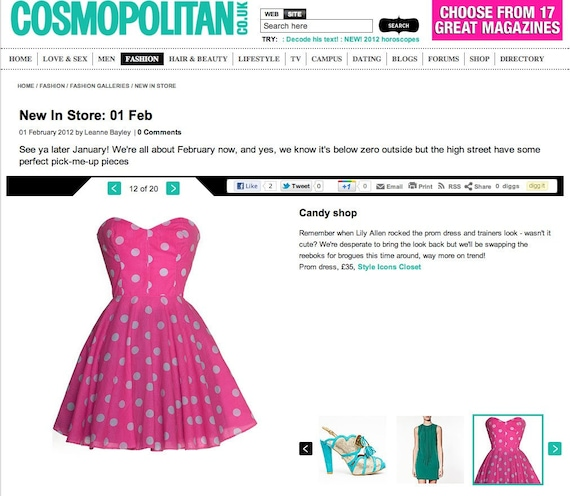 50s Style Polka Dot Prom Dress As Seen In Cosmopolitan.co.uk