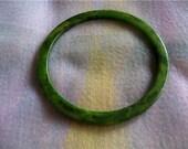 Vintage Green Marble Look Bakelite Bangle Bracelet