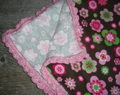 Flannel Baby Receiving Blanket, Crocheted Edge, Girls,Flowers, Brown, Pink and Green by ViviMaeCreations