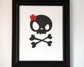 Lady Skull Framed Art with cute Red Cherry Blossom