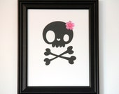 Sugar Skull Framed Art with Pink Cherry Blossom