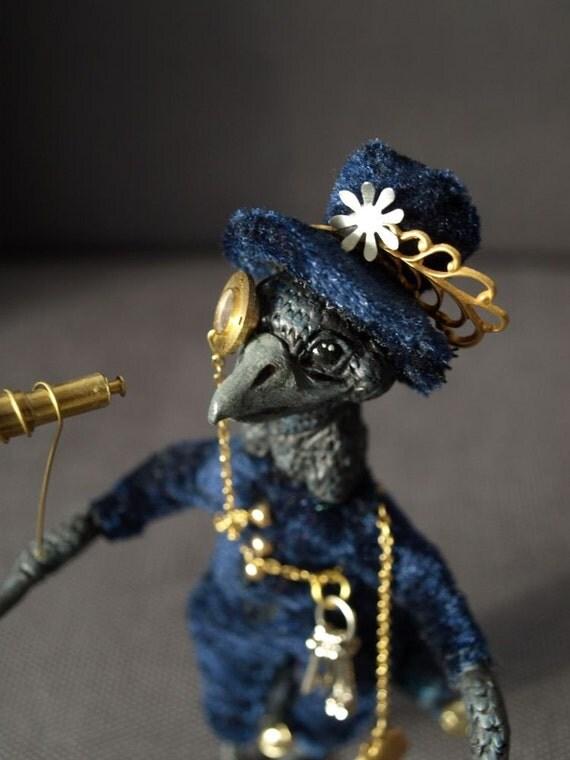 miniature steampunk crow