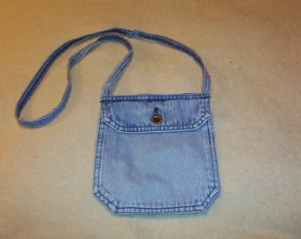 Cute & Sassy Pocket Purse Great For All Ages Fun Faded Denim Jean Look Eddie Bauer Button Perfect Size Use Plain, Bling it, Pin it Great Fun