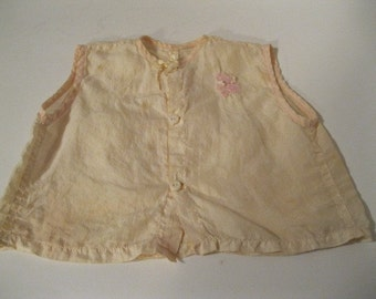 WW II Era One of A Kind Museum Quality Unique Find Handmade Parachute Baby Shirt 1940s Rare Vintage Handmade Baby Child Clothing Collectible