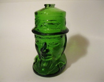 United States Uncle Sam Patriotic Highly Collectible Wheaton Glass Still Bank Dark Green Country Home Political Decor Very Good Condition