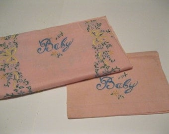 Antique Linen Collectible BABY Handmade Crib Sheet & Pillowcase 1940s Pink Fabric with Fine Detailed Embroidrey Decor Lovely Vintage Linen