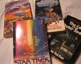Out of This World Space Adventures Sci-Fi, Star Trek, Wars, Battles, Wonderful Vintage Book Collection 1970s Editions Four Adventure Books