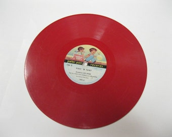 Peter Pan Records Puff 'N Toot with Peter Pan Chorus RARE Bright Red Non-Breakable Vinyl Collectible Record Craft, Decor or Photo Op