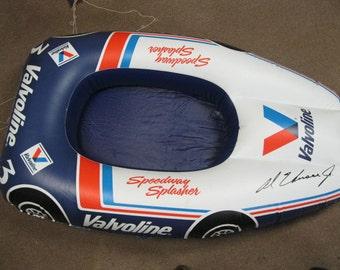 Speedway Splasher Indy 500 Race Car Valvoline Oil Promotional Nascar Racing FUN Inflatable Float/Raft Pool or Room Decor Signed Al Unser, Jr