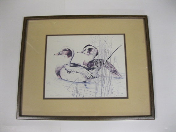 Ducks on Pond Limited Edition Numbered & Signed Print by Ronald Beavan Framed and Matted Arthur A. Kaplan Company Vintage Ducks Collectible