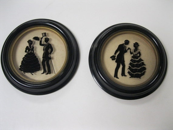 Antique Silhouette Reverse Painted Pictures of Colonial Greeting Between Lady and Gentleman Bakelite Style Frames
