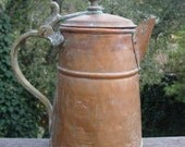 Rustic Copper Pitcher with Lid Green Patina Village Cottage Shabby Chic Farm Metal Watering Can Gardening