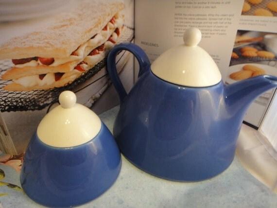 Unique Vintage Cobalt Blue and White Cone Shaped Teapot and Sugar Set Ceramic