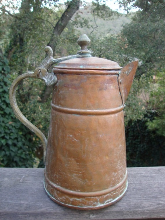 Rustic Copper Pitcher With Lid Green Patina Village By