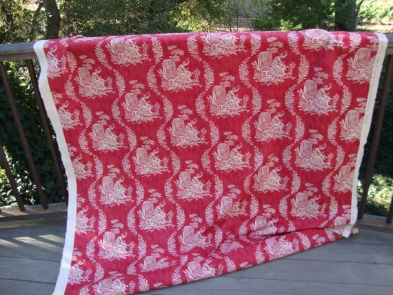 1.5 Yard Red and White Toile Fabric French France Upholstery Furniture Cushion Pillow Draperies  Window Covering Curtains Ottoman