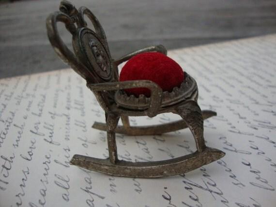 Miniature Red Rocking Chair ~ Vintage miniature rocking chair pin cushion plush red velvet