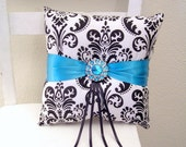 Teal and Black Damask Ring Pillow