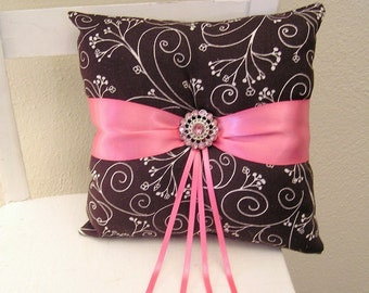 Pink and Brown Flowers Ring Pillow