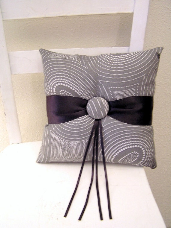Grey Circles with Black Ring Pillow