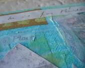 original mixed media painting, collage art, mixed media collage, house art, house warming gift, blue art, beach decor, new home, canvas art