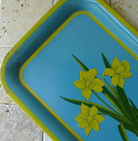 vintage metal tray floral flowers