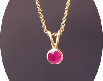 Natural Ruby Round in 14 Karat Yellow Gold Setting and Chain