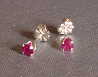 Ruby Round Gemstone Sterling Silver Stud Earrings