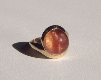 Scapolite Catseye Custom Cut 14K Yellow Gold Ring Size 6 1/2