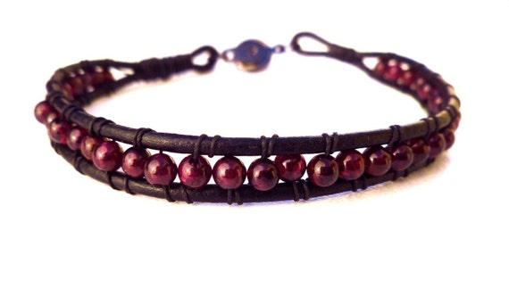 "Men's Natural Red Garnet Bead Leather Bracelet for Man or Woman 8"""