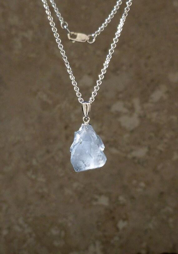 celestine necklace celestite pendant by jimcolony