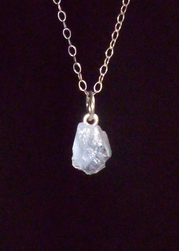 Celestine - Celestite - Raw Rough Crystal Silver Pendant & Chain 5 carats