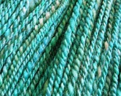 SALE  BFL and Silk Handspun Yarn in Aqua  Sea Green  Turquoise  sport weight