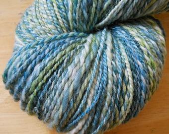 SEA BREEZE Merino Bamboo Nylon Handspun Yarn in Aqua, Light Green and Cream