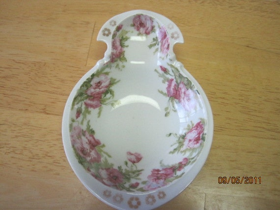 """Vintage  SILESIA Dish 6 3/4"""" decorated with Pink Roses"""