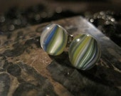 White yellow Blue Stripes Earrings
