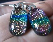 Serene Rainbow  Dichroic Dangle Earrings on Sterling silver
