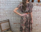 1970s Sheer Vintage Flutter Sleeve Dress - Medium