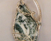 RESERVED FOR DOMINIQUE Pendant: Spring is in the air with this lovely Green Tree Agate pendant wrapped n Sterliing Silver
