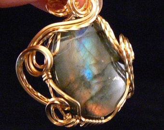 Pendant: Labradorite Pendant wrapped in gold filled wire