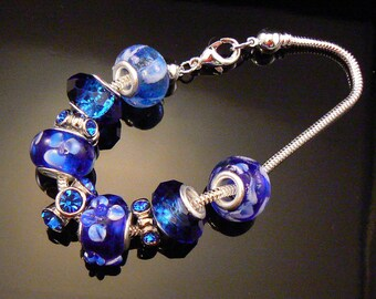 Blue add a bead bracelet