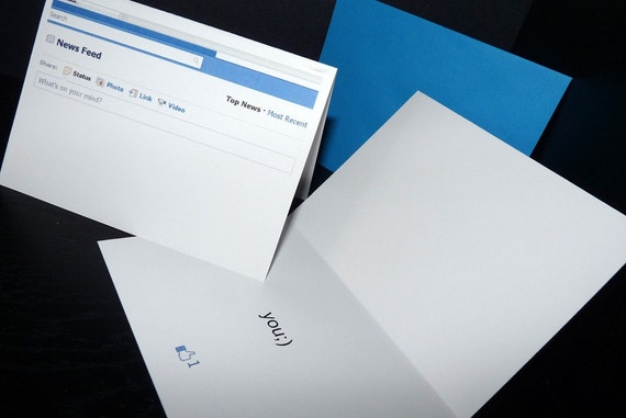 Items similar to Facebook Themed Valentines Day Card on Etsy – Valentine Cards for Facebook