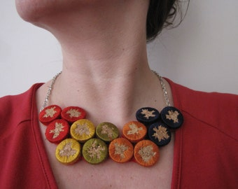 Cork Embroidered Necklace - Joy of spring - cork necklaces, embroidery, statement necklace, fall spring colors, unique accessories