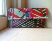 Fabric clutch wallet large red purple blue