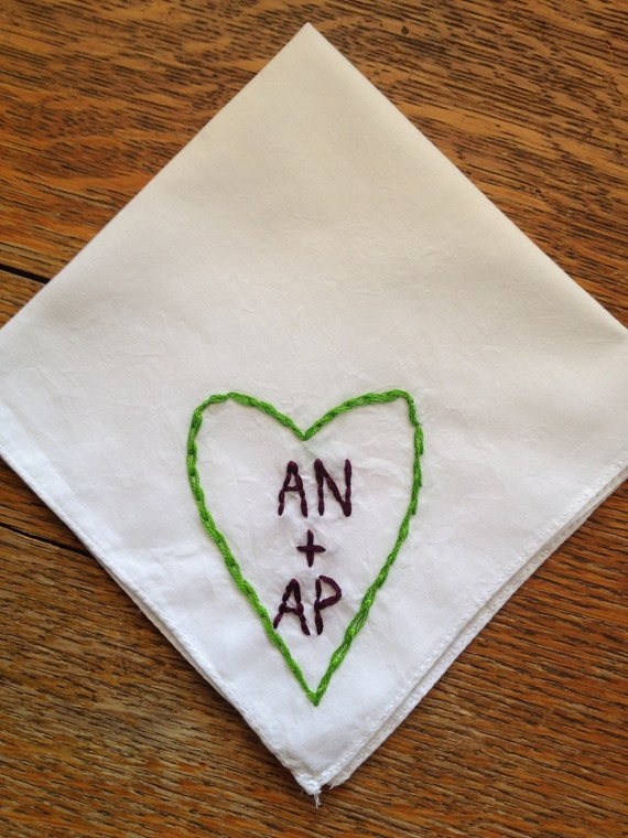 Custom Embroidered Handkerchief Bridal Accessory Valentines Day Gift