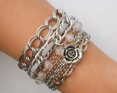 GREY Lou Bracelet with charm - multichain, rose quartz semiprecious stones,friendship bracelet, layered bracelet