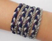 MORGAN wrap around bracelet in navy blue, plum, grey, friendship bracelet, braided bracelet, wrap around bracelet